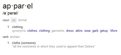 Definition of Apparel | ApparentlyApparel.com