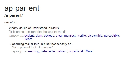 Definition of Apparent | ApparentlyApparel.com